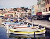 Boats in Cassis Harbor. 8x12 photograph. Travel photography. French fishing boats. Provence, France.