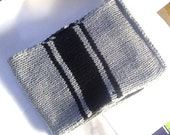 Chunky Extra Long Man's Silver Grey and Black Scarf - Made to Order