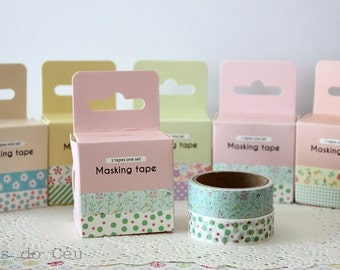 Floral Mood Washi Tape  - 2 Rolls - 5 mt/each - Ready to Ship.
