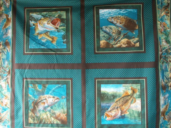 Quilt panel fabric bass fish trout water fishing pillow for Fish fabric for quilting
