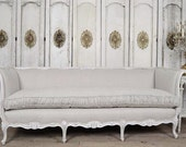 Antique French Daybed Sofa in Linen