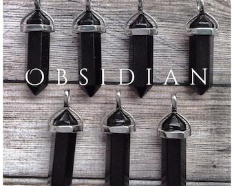 Obsidian /Black Onyx gemstone crystal point pendant
