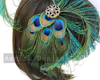 Imperial Peacock feather fascinator headdress (5 fastener option)(16 color options)  mardi gras, derby, wedding receptions, larp, cosplay