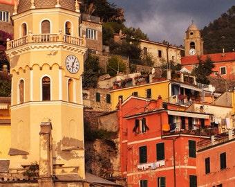 Fine Art Photography, Vernazza, Cinque Terre, Italy, clock tower, colourful, orange, yellow, warm, 8x12