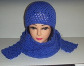 Blue Crochet Beanie Hat and Scarf Set, Womans Accessories, Gifts for Women