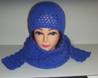 Blue Crochet Beanie Hat and Scarf Set, Gifts for Her, Crochet Scarf Set