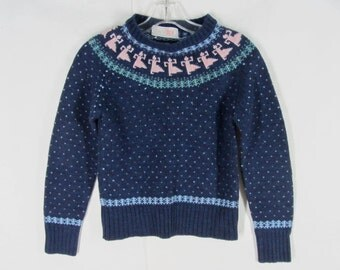 Retro 70s Huckapoo Sweater S Dark Blue Pullover Pink Dancers