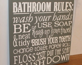 Bathroom Rules Subway Sign/Bathroom Sign/Wash Your HandsBrush Your Teeth/Dry/Put the Seat Down/Gray/White/Bathroom/Rules/Wood Sign