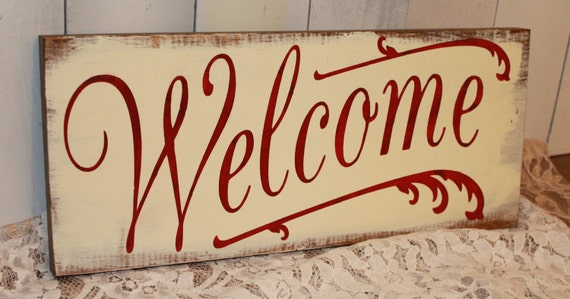 Items similar to Welcome/Sign/Hand painted/Front Porch ...