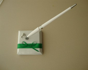 White and Green Guest Book Pen Set-Country Wedding Colors