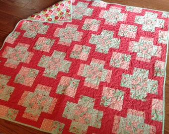 Scrumptious Baby Girl Quilt in Pink, Red, Aqua, Blue