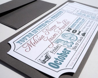 Movie Ticket Wedding Invitation DIGITAL DESIGN