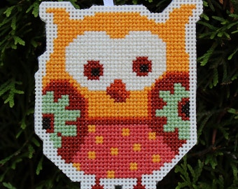 Completed Cross Stitch Ornament - Owl