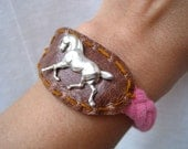 Horse Play Bracelet, horses, jewelry, blue, pink, braided, vintage, charm, handstitched, embroidery, handmade, leather, brown,silver