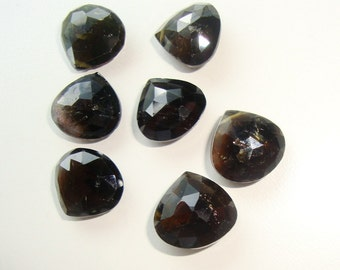 Beautiful Watermelon Tourmaline Faceted Heart briolette,7 pcs, 10-11mm, a3-8, sale, reduced from 49.00