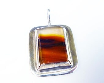 Sterling Picture Banded Agate Pendant Silver Modernist Vintage Jewelry
