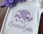 Personalized Elephant Bodysuit -Embroidered Elephant Bodysuit/ Headband Set- Baby Girl Bodysuit- Applique Elephant Bodysuit