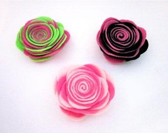Pink Flower Pin -- Felt Flower Pin -- Felt Pin -- Large Felt Flower -- 3 color options