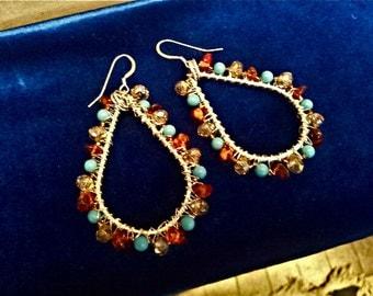 Beaded Teardrop Earrings -- Bold Statement Earrings -- Large Teardrop Earrings -- Teal Statement Earrings -- Amber & Blue Earrings -- Gems
