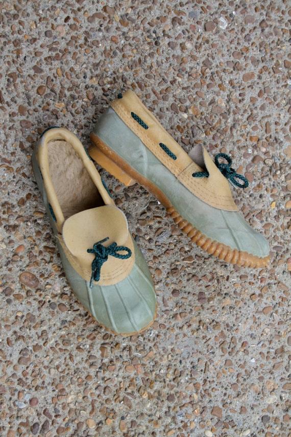Duck Boots Mint Green Low Cut Ankle Boots Steel Shank