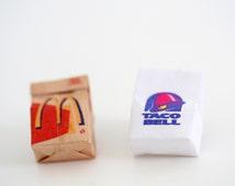 Miniature Fast Food, Taco Bell / McDonalds -Pop Culture Pin / Brooch