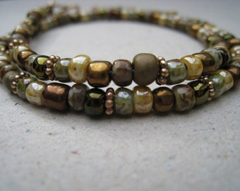Mixed Glass Seed Beads with Bronze Spacers Wrap Bracelet - Bead Bracelet - Stackable Bracelet - Beaded Bracelet