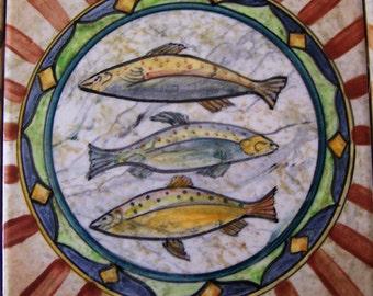 Entirely hand painted ceramic Maiolica Tile, Italian Design