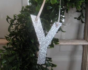 Custom Monogram Christmas Glitter Letter Ornament - QUIRKY font