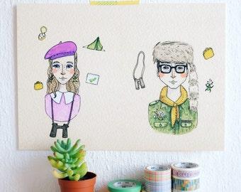 Suzy and Sam A4 Print
