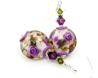 Purple Floral Earrings, Lampwork Earrings, Glass Earrings, Glass Bead Earrings, Beadwork Earrings, Colorful Flower Earrings,