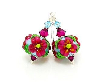 Hot Pink & Blue Earrings, Lampwork Earrings, Glass Earrings, Floral Earrings, Glass Bead Earrings, Beadwork Earrings, Lampwork Jewelry