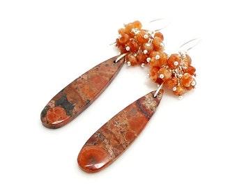 Birds Eye Jasper Earrings, Gemstone Earrings, Beaded Cluster Earrings, Drop Dangle Earrings, Beadwork Earrings, Wire Wrapped Earrings