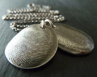 Two Fingerprints Necklace. Custom Personalized Fingerprint Keepsake Silver Necklace. Fingerprint Jewelry.