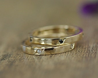 Black Spinel or  White Sapphire Fancy Pave Stacking Ring, 14 Karat Gold