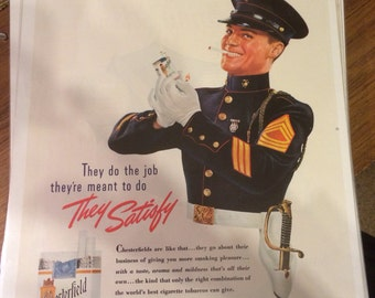 1939 United States Marines Chesterfield cigarettes print ad