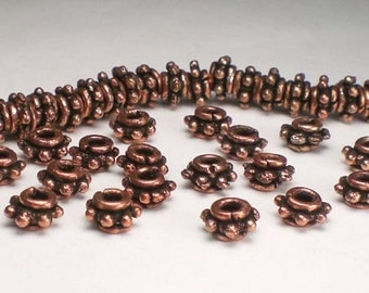 Genuine Copper Beads 7mm Copper Beads Large Hole Beads 18 pcs. GC-276