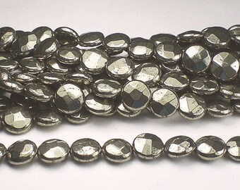 Pyrite Faceted Coin Beads 8 1/2 mm 16 Beads