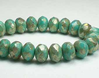 Turquoise Czech Glass Beads Silver Picasso 6 x 8mm Faceted Rondelle Beads 10 Pcs. 110