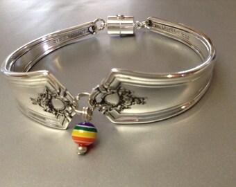 Bracelet, Women's Bracelet, Spoon Bracelet, Silver Bracelet, Gay, Wrist Wear, Silver Spoon Bracelet, Rainbow Bracelet, Free USA shipping