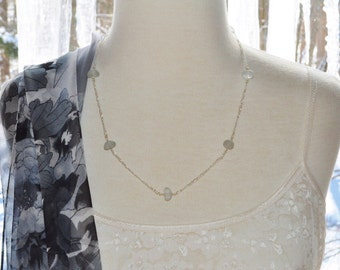 Sea Glass Jewelry Beach Eternity Necklace 20 Inch in Dark Grey and Sterling Silver 7786