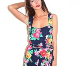 1980s navy and floral romper