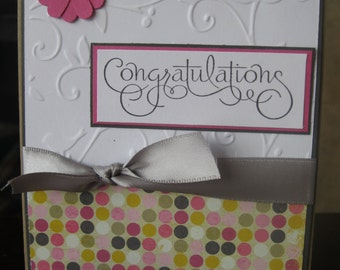 A Fancy polka doted  Congratulations Handmade Greeting Card