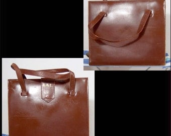 Virginia Art vintage 1930s chestnut leather organizer vanity purse bag - monogram EBE - miniature briefcase travel writing pockets - USA