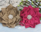 NEW: 2 pcs Tan and Azalea Fuchsia Poinsettia Kanzashi FLowers - Soft Velvet rhinestones Layered Fabric Flowers, Christmas Holiday Flower.