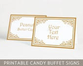 Printable Classic Candy Buffet Signs in Golden Color, Classic, Editable PDF, Instant Download