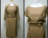 VTG 50s LEONARD ARKIN for Hal Lewis Jacket and Short Sleeve Fitted Dress Suit Size S
