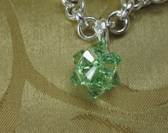 Large Peridot Crystal Charm With Sterling Silver Lobster Claw Clasp/Wedding Gift/Holiday Jewelry