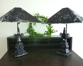 Pair of vintage black painted brass lamps and shades
