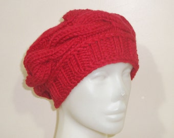 Hand Knit Hat Red Womens Hat Red Beret Hat - Knit Beret Hat in Red Knit Hat - Red Hat Womens Accessories