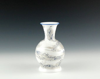 White and Blue Bud Vase, Hand Blown Glass